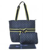 Gold Outline Navy Quilted Diaper Bag