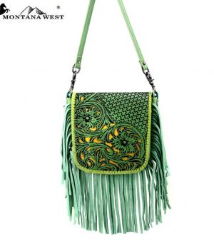 Montana West 100% Real Leather Tooled Crossbody