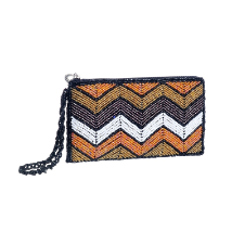 Orange and Brown Artisan Beaded Wallet