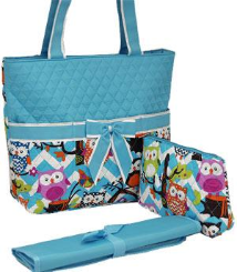 Owl Town Aqua Chevron Quilted Diaper Bag