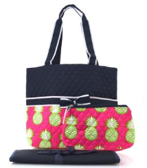 Pineapple Print Quilted Diaper Bag