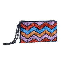 Pink and Blue Artisan Beaded Wallet