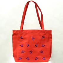 Red Hat Purple Embroidered Tote Bag