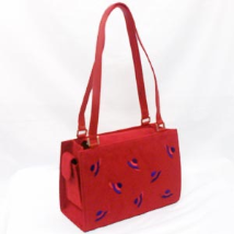 Red Hat Suede Shoulder Handbag