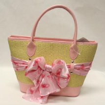 Straw Handbag - Detachable Pink Ribbon Breast Cancer Awareness Scarf