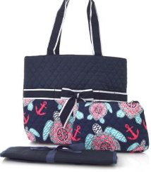 Turtle Print Quilted Diaper Bag
