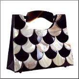 Mad by Design Shingled Trapezoid Handmade Shell Handbag