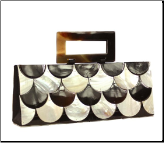 Mad by Design Black & White Shingles Handmade Shell Handbag