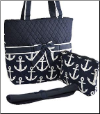 Anchor Print Quilted Diaper Bag