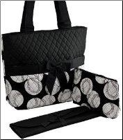 Baseball Print Quilted Diaper Bag