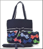 Bow Tie Print Quilted Diaper Bag
