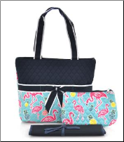 Flamingo Quilted Diaper Bag