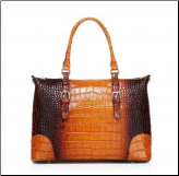 Kellis Crocodile Embossed Leather Handbag, Brown
