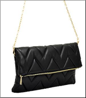 Quilted Chevron Open Clutch Bag