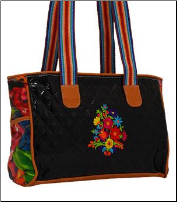 Quilted Pattern Floral Embroidery Tote Bag