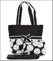 Volleyball Print Quilted Diaper Bag