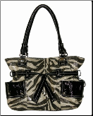 Aliz Glitter Zebra Print Shoulder Bag