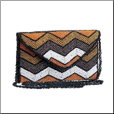 Orange and Brown Artisan Beaded Wristlet