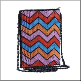 Pink and Blue Artisan Beaded Zipper Crossbody